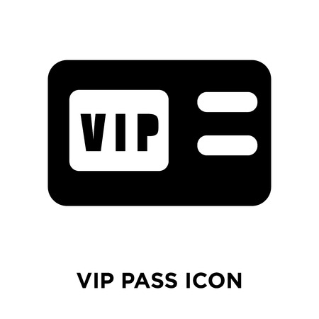 Vip pass icon vector isolated on white background, logo concept of Vip pass sign on transparent background, filled black symbol