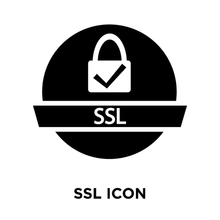 Ssl icon vector isolated on white background, logo concept of Ssl sign on transparent background, filled black symbol