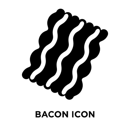 Bacon icon vector isolated on white background, logo concept of Bacon sign on transparent background, filled black symbol