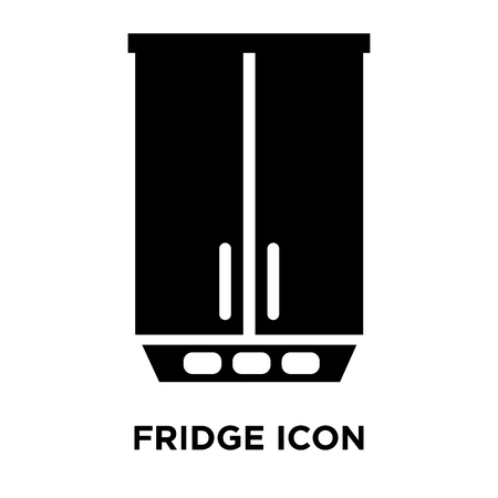 Fridge icon vector isolated on white background, logo concept of Fridge sign on transparent background, filled black symbol Vectores