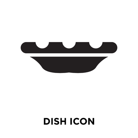 Dish icon vector isolated on white background, logo concept of Dish sign on transparent background, filled black symbol