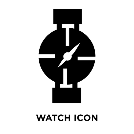 Watch icon vector isolated on white background, logo concept of Watch sign on transparent background, filled black symbol