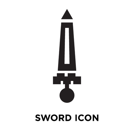 Sword icon vector isolated on white background, logo concept of Sword sign on transparent background, filled black symbol