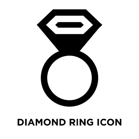 Diamond ring icon vector isolated on white background, logo concept of Diamond ring sign on transparent background, filled black symbol