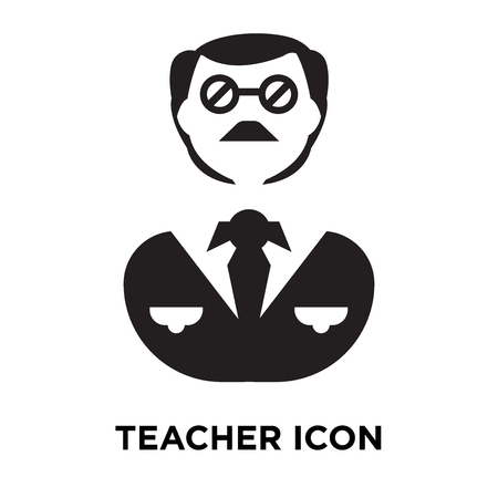 Teacher icon vector isolated on white background, logo concept of Teacher sign on transparent background, filled black symbol