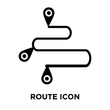 Route icon vector isolated on white background, logo concept of Route sign on transparent background, filled black symbol