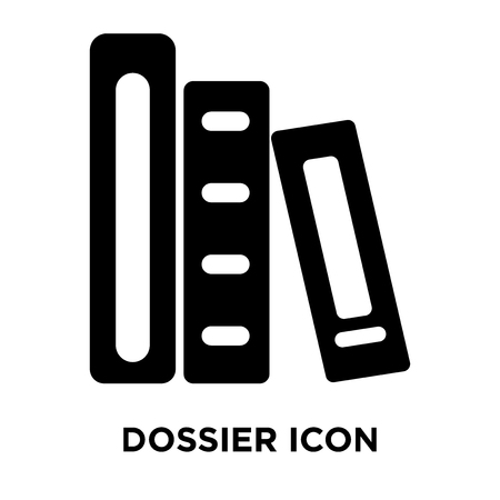 Dossier icon vector isolated on white background, logo concept of Dossier sign on transparent background, filled black symbol Illustration