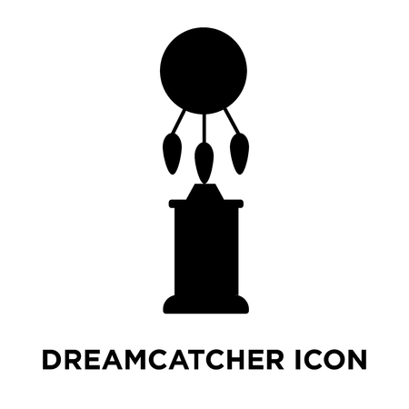 Dreamcatcher icon vector isolated on white background, logo concept of Dreamcatcher sign on transparent background, filled black symbol Illustration