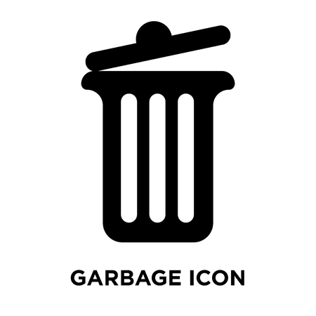 Garbage icon vector isolated on white background, logo concept of Garbage sign on transparent background, filled black symbol Standard-Bild - 107831864