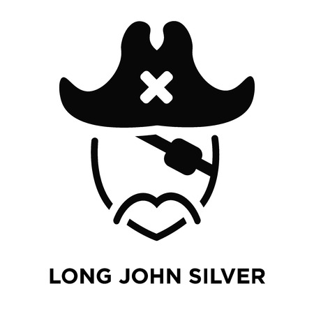 Long john silver icon vector isolated on white background, logo concept of Long john silver sign on transparent background, filled black symbol