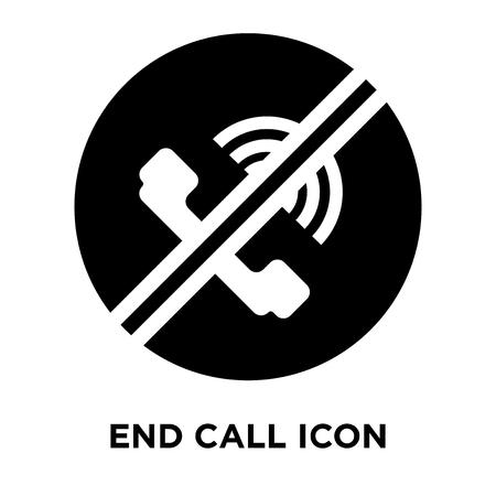 Vector icono de llamada final aislado sobre fondo blanco, concepto de logo de señal de llamada final sobre fondo transparente, símbolo negro relleno