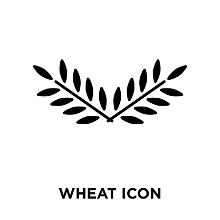 Wheat icon vector isolated on white background, logo concept of Wheat sign on transparent background, filled black symbol