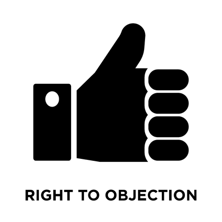 Right to objection icon vector isolated on white background, logo concept of Right to objection sign on transparent background, filled black symbol Archivio Fotografico - 107880429