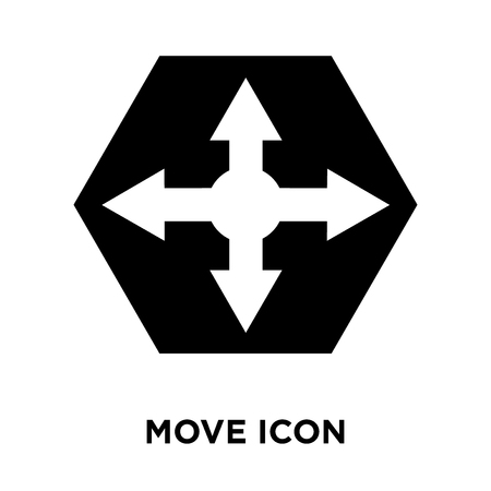 Move icon vector isolated on white background, logo concept of Move sign on transparent background, filled black symbol