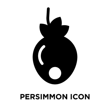 Persimmon icon vector isolated on white background, logo concept of Persimmon sign on transparent background, filled black symbol Stock Illustratie