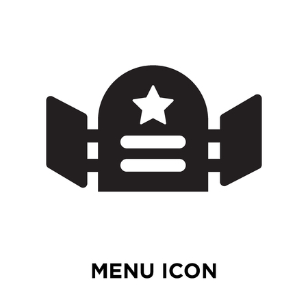 Menu icon vector isolated on white background, logo concept of Menu sign on transparent background, filled black symbol Banque d'images - 107784592