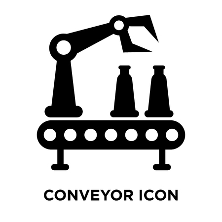 Conveyor icon vector isolated on white background, logo concept of Conveyor sign on transparent background, filled black symbol 일러스트