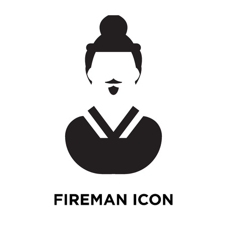 Fireman icon vector isolated on white background, logo concept of Fireman sign on transparent background, filled black symbol