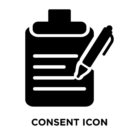 Consent icon vector isolated on white background, logo concept of Consent sign on transparent background, filled black symbol Vectores