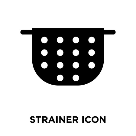 Strainer icon vector isolated on white background, logo concept of Strainer sign on transparent background, filled black symbol