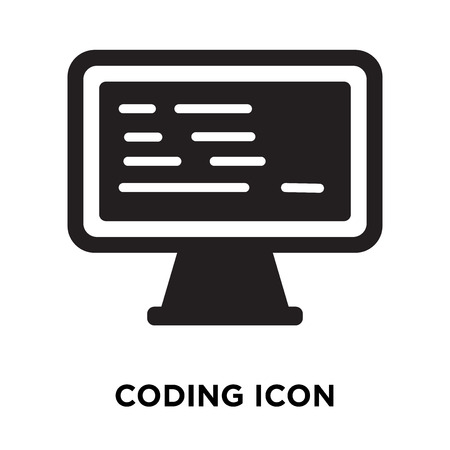 Coding icon vector isolated on white background, logo concept of Coding sign on transparent background, filled black symbol
