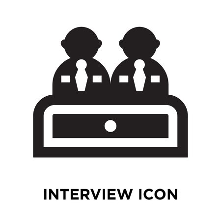 Interview icon vector isolated on white background, logo concept of Interview sign on transparent background, filled black symbol Illusztráció