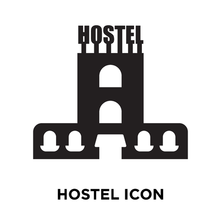 Hostel icon vector isolated on white background, logo concept of Hostel sign on transparent background, filled black symbol