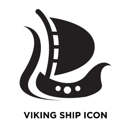 Viking ship icon vector isolated on white background, logo concept of Viking ship sign on transparent background, filled black symbol