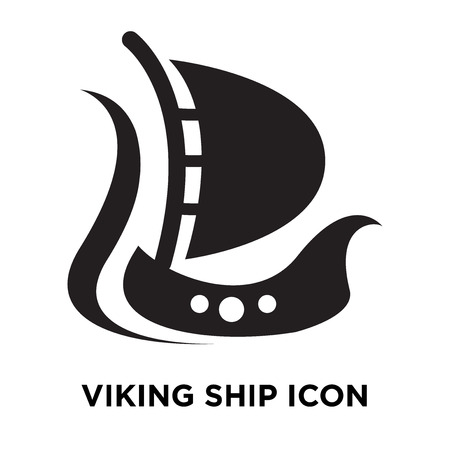 Viking ship icon vector isolated on white background, logo concept of Viking ship sign on transparent background, filled black symbol