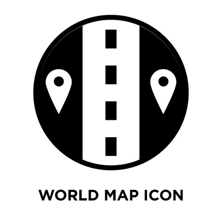 World map icon vector isolated on white background, logo concept of World map sign on transparent background, filled black symbol