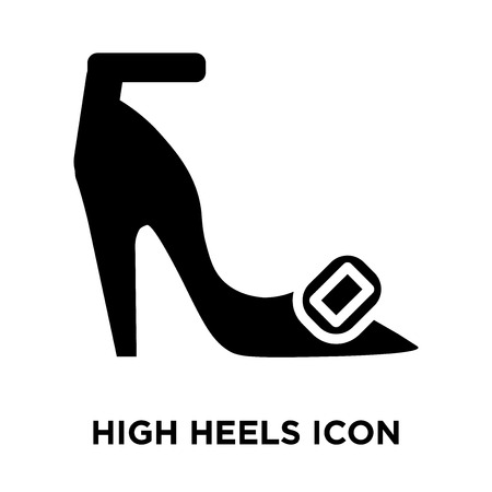 High heels icon vector isolated on white background, logo concept of High heels sign on transparent background, filled black symbol Illustration