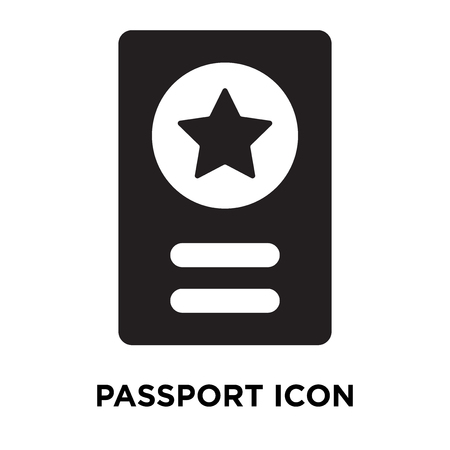 Passport icon vector isolated on white background, logo concept of Passport sign on transparent background, filled black symbol