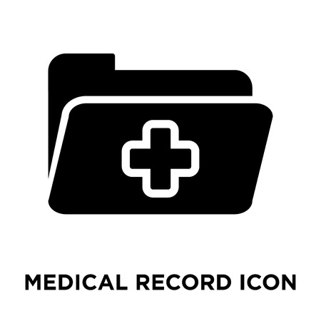 Medical record icon vector isolated on white background, logo concept of Medical record sign on transparent background, filled black symbol Illustration