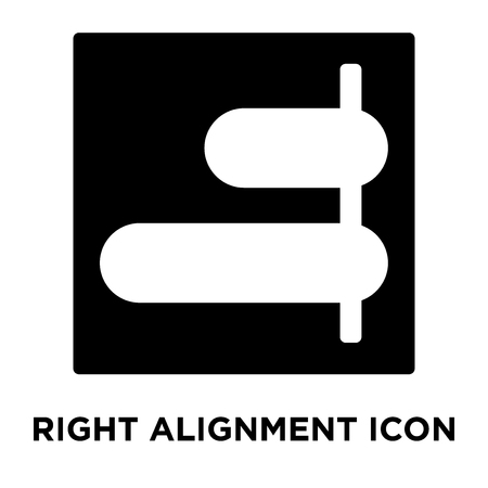 Right alignment icon vector isolated on white background, logo concept of Right alignment sign on transparent background, filled black symbol