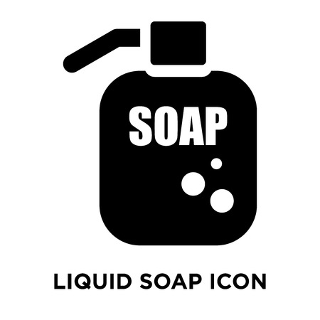 Liquid soap icon vector isolated on white background, logo concept of Liquid soap sign on transparent background, filled black symbol Stock Illustratie