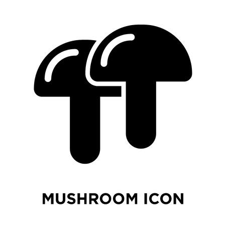 Mushroom icon vector isolated on white background, logo concept of Mushroom sign on transparent background, filled black symbol Illustration