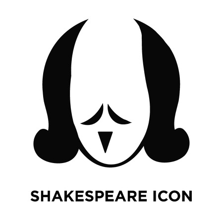 Shakespeare icon vector isolated on white background, logo concept of Shakespeare sign on transparent background, filled black symbol