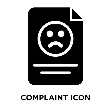 Vecteur d'icône de plainte isolé sur fond blanc, notion de logo de signe de plainte sur fond transparent, rempli de symbole en noir