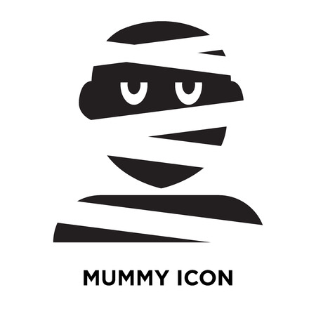 Mummy icon vector isolated on white background, logo concept of Mummy sign on transparent background, filled black symbol Illustration