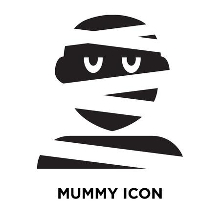 Mummy icon vector isolated on white background, logo concept of Mummy sign on transparent background, filled black symbol Illustration