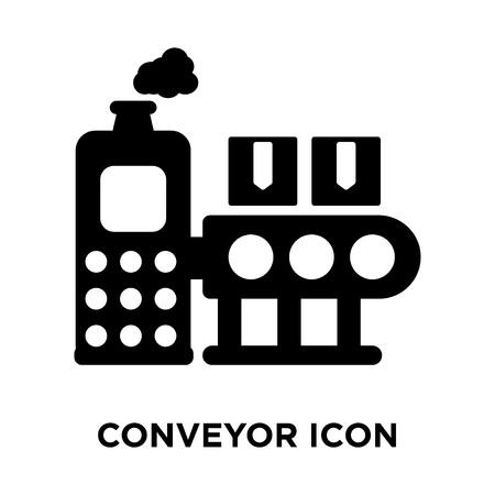 Conveyor icon vector isolated on white background, logo concept of Conveyor sign on transparent background, filled black symbol 스톡 콘텐츠 - 107946393