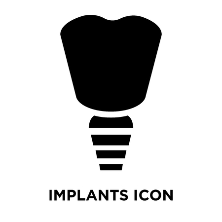 Implants icon vector isolated on white background, logo concept of Implants sign on transparent background, filled black symbol Vectores