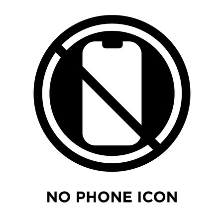 No phone icon vector isolated on white background, logo concept of No phone sign on transparent background, filled black symbol  イラスト・ベクター素材