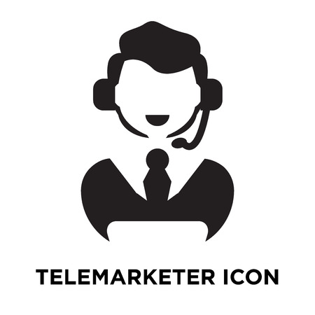 Telemarketer icon vector isolated on white background, logo concept of Telemarketer sign on transparent background, filled black symbol
