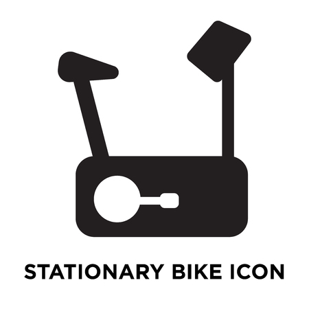 Stationary bike icon vector isolated on white background, logo concept of Stationary bike sign on transparent background, filled black symbol Illustration