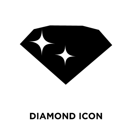 Diamond icon vector isolated on white background, logo concept of Diamond sign on transparent background, filled black symbol