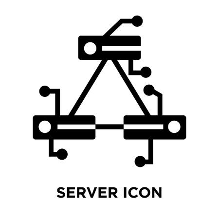 Server icon vector isolated on white background, logo concept of Server sign on transparent background, filled black symbol Illustration