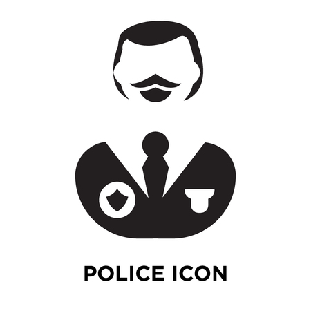 Police icon vector isolated on white background, logo concept of Police sign on transparent background, filled black symbol Vectores