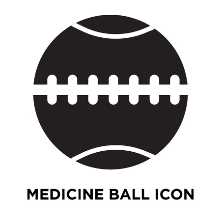 Medicine ball icon vector isolated on white background, logo concept of Medicine ball sign on transparent background, filled black symbol