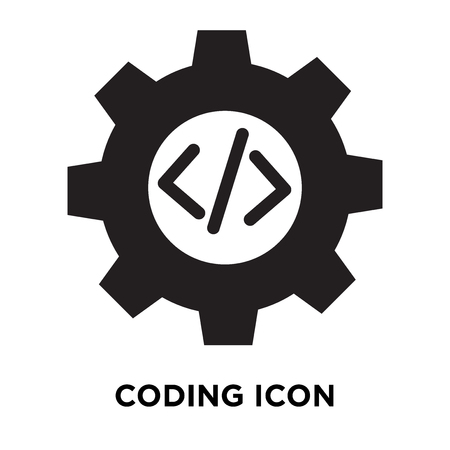 Coding icon vector isolated on white background, logo concept of Coding sign on transparent background, filled black symbol Logo
